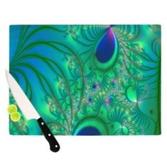 Kess InHouse Alison Coxon Fractal Turquoise Artists Cutting Board, 11.5 by 8.25-Inch