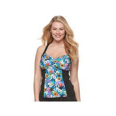 Women's A Shore Fit D-E Cup Floral Tankini Top, Size: 14, Ovrfl Oth