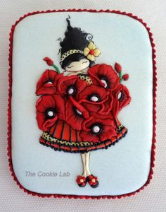 Poppies - Poppy dress!  - Cake by The Cookie Lab - Bolachas Decoradas Artesanais