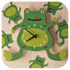 Kids Clock - Frog. Fun natural birch wood clock with a cool 3D pop out effect - hangs on wall.