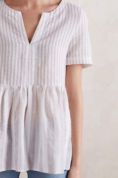 Oh Anthropologie // Vintage Stripe Peplum Top Pretty Outfits, Cute Outfits, Pretty Clothes, Classy Outfits, Looks Style, My Style, Estilo Jeans, Look Fashion, Womens Fashion