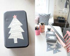 Christmas tree cut out of newsprint for XMAS tin box, such a cute idea.