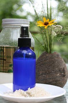 Sea Salt Hair Spritz: mix pure water, 1/2 tsp coconut oil, 1 tsp celtic sea salt.
