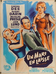 "If A Man Answers (1962) Vintage French Affiche Movie Poster - This is a vintage French ""affiche"" movie poster from 1963 for the romantic comedy If a Man Answers starring Sandra Dee, Bobby Darin, Micheline Presle, John Lund, Cesar Romero and Stefanie Powers. Henry Levin directed the film.  This 53-year-old poster measures 23 1/2"" x 31 1/2"" and is in very good condition with some minor, age-related edge wear. Free U.S. Shipping!"