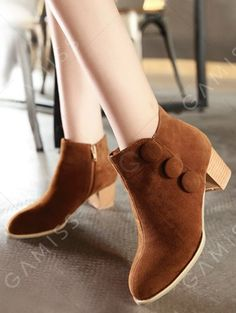Buttons Chunky Heel Suede Ankle Boots
