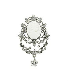 Look at this #zulilyfind! Clear Czech Crystal Vanity Cameo Pin #zulilyfinds
