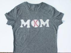 Custom Hand Stitched Baseball Mom Shirt - so cute! Customizable on on back Clarke 3