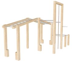 Wooden outdoor gym rig and equipment. Premium outdoor multi gym designed for gardens and parks. Includes dip bars, monkey bars, rope climb and pull ups