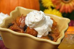 Pumpkin bread pudding with whiskey sauce from Sweet and Crumby