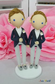 Gay Wedding Cake topper clay doll , Same sex Clay Couple in Navy blue theme, wedding clay figurine decoration, rings holder clay miniature by AsiaWorld on Etsy https://www.etsy.com/listing/201116643/gay-wedding-cake-topper-clay-doll-same