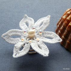 Bridal Irish Crochet Hair Spiral Clip with by BeadsPearlsCrystals, €9.90