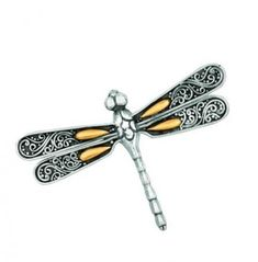 Precious Metal Without Stones Just Phillip Gavriel Dragonfly Collection 925 Sterling Silver 18k Gold Broach Pin Fine Pins & Brooches