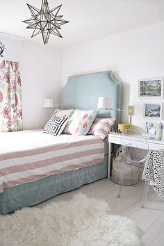DIY turquoise velvet headboard, Moravian star chandelier, paint by numbers art, acrylic ghost chair in little girls room  - Cuckoo4Design