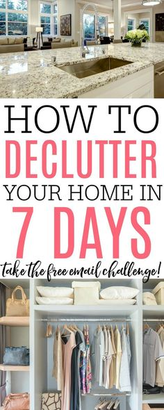 7 Day Decluttering Challenge Want to declutter and organize your home? Looking for decluttering tips and ways to simplify your life? Check out how to declutter your home in 7 days. Take the decluttering challenge to organize your home in minutes a day. Declutter Home, Declutter Your Life, Organizing Your Home, Organizing Tips, Ways To Organize Your Room, Organising, House Cleaning Tips, Spring Cleaning, Cleaning Hacks