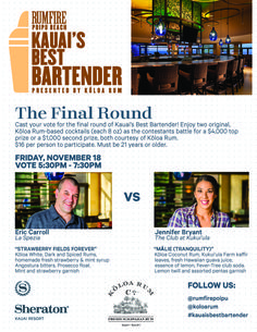 The final round of the Koloa Rum Kauai's Best Bartender Contest is on 11/18 at Rum Fire, Poipu Beach, Sheraton Kauai.  Who will take the 14 week competition?  Eric from La Spezia Kauai or Jen from The Club at Kukuiula?