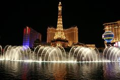 water show at the Bellagio in Las Vegas with Paris casino in the background