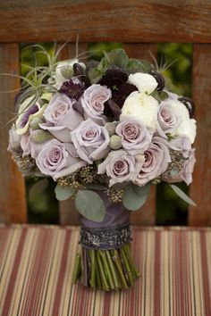 a wedding bouquet with mauve, dark, white, deep purple blooms, greenery and air plants - Weddingomania Mauve Wedding, Cream Wedding, Floral Wedding, Wedding Colors, Wedding Bouquets, Wedding Flowers, Rose Flowers, Wedding Dresses, Funeral Bouquet