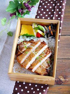 Miso grilled pork, omelette, ginger fried asparagus, boiled hijiki ...