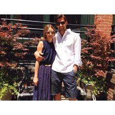 Olivia Palermo & Johannes Huebl #bluetop #bluelongskirt