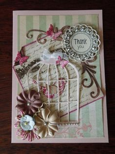 bird cage Thank you card by charlie horse - Cards and Paper Crafts at Splitcoaststampers