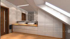 pomarancze-studio-projektowanie-wnetrz-bialystok-lazienka-na-poddaszu-pod-skosem-styl-nowoczesny-drewno-bialy-polysk (2) House Design, Room, Home, Toilet Room, Bathroom Faucets, Interior Design Trends, Attic Bathroom, Interior Design Living Room, Interior Design