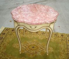 Mid Century Weiman Heirloom French Provincial Rose Marble Top Table Hollywood #Weiman #FrenchProvincialHollywoodRegency