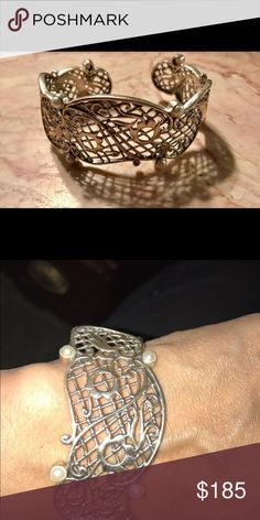RARE..Silpada rep only SS pearl incentive cuff Beautiful filigree cuff with pearls... awarded to reps who qualified for the first level of the Destination Fabulous incentive trip.. I have small wrists but this one also fits larger wrists Silpada Jewelry Bracelets