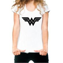 Verano para mujer blanco Anime Wonder Woman Logo impresión gráfica de la camiseta camiseta de la mujer de la muchacha ropa T-shirt novedad 2016 Vogue Swag(China (Mainland))