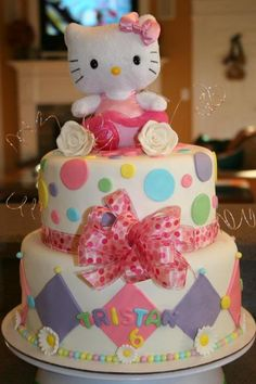Hello Kitty Cake  I wonder if I could find a small doll like that to use...