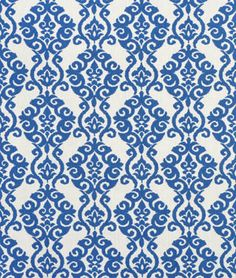 A damask print in a nice bright color adds so much to a bedroom! This is a Waverly Luminary Indigo blue Fabric.