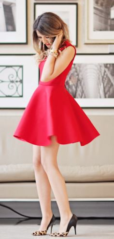 embellished red skater dress