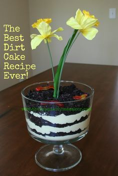 Best Dirt Cake Recipe Everfrom The Happier Homemaker is a a super fun recipe to cook with the kids! Serve this in a trifle dish and add a faux flower plus gummy worms to give it a whimsical 'dirt-like' effect!