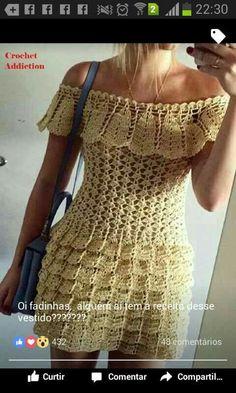 Crochet Dresses, Crochet Clothes, Knit Dress, Dress Skirt, Crochet Bikini, Crochet Top, Hairpin Lace, Crochet Woman, Prado