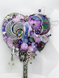 Hand Mirror  Recycled Lavender Night   by #MarilyndaGallery on Etsy