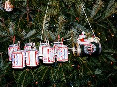 beer can and liquor bottle holiday ornaments