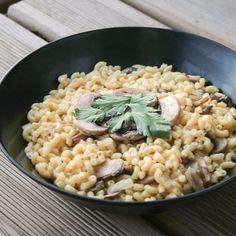 Recette Coquillettes façon risotto aux champignons (végétalien) (facile, rapide)