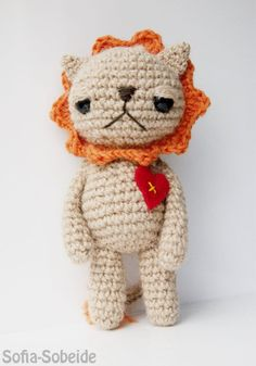 One of a kind amigurumi art doll- Laura the crochet lion who loves to sing