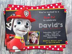 Set of 12 Paw Patrol Marshal Birthday Party Invitation Cards