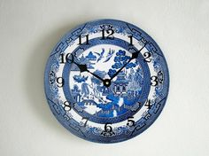 Blue Willow Wall Clock  Blue and White Decor  by GoldenDaysDesigns, $35.00