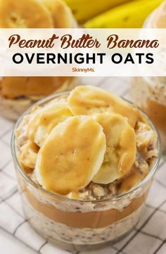 Peanut Butter Overnight Oats, Banana Overnight Oats, Peanut Butter Banana, Overnight Breakfast, Banana Oats, Healthy Overnight Oats, Peanut Butter Breakfast, Healthy Breakfast Recipes, Healthy Drinks