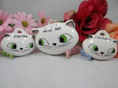 1959 Midcentury Rare Collectible Howard Holt Cozy Kitten Spice Holders Set of 3