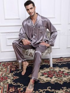 275684b284 Mens Silk Satin Pajamas Set Pajama Pyjamas Set Sleepwear Loungewear S