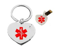 Key2Life USB Medi-Chip Heart Key Chain