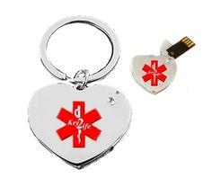 Key2Life USB Medi-Chip Heart Key Chain