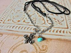 Charm Necklace Black Leather Antiqued Chain Turquoise by SimplyMim, $28.00