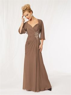 mother of the bride dresses plus size orange | ... strap long brown chiffon beaded mother of the bride dress with jacket