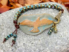 LOVE THIS! Ceramic Flying Eagle cuff emerald green by iRescueJewelryDesign, $25.00