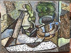 Still life with Statue and Tankard - Acrylic on canvas.