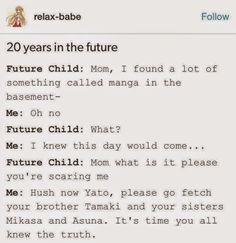 Noragami, Ouran high school host club, Attack on titan, Sword art online XD (I'm so doing something like this to my future kids)