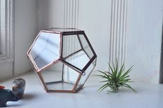Universe Terrarium Kit, small dodecahedron glass terrarium with a hinged door -- stained glass -- copper or silver color -- eco friendly
